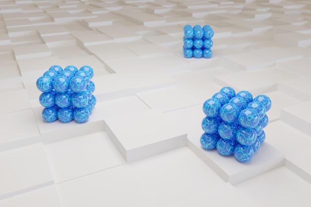 Niebieskie kule na białych kostkach.