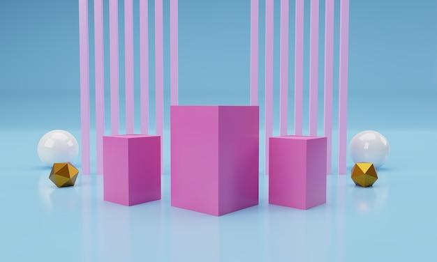 Niebieskie kwadratowe podium z geometrycznym