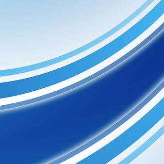 Niebieskie linie tworzą elastyczne, zakrzywione paski w różnych kolorach. układ geometryczny