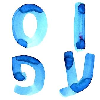 Niebieskie litery akwareli alfabetu hebrajskiego