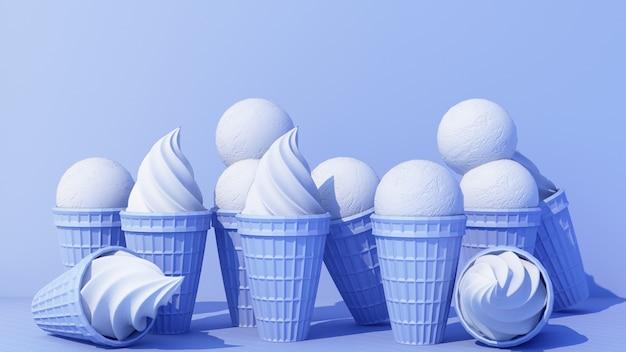 Niebieskie lody mleczne ze słodkim rożkiem waflowym na niebieskim tle kolor minimalnej koncepcji renderowania 3d