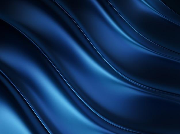 Niebieskie metaliczne tło 3d z falistymi eleganckimi liniami.