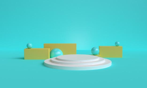 Niebieskie minimalistyczne prymitywne geometryczne abstrakcyjne tło, stylowa modna ilustracja podium, stojak, prezentacja w pastelowym kolorze dla produktu premium. renderowania 3d.
