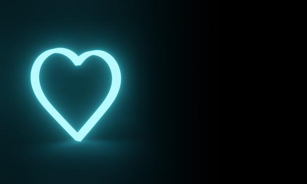 Niebieskie neonowe serce. świecące światło.