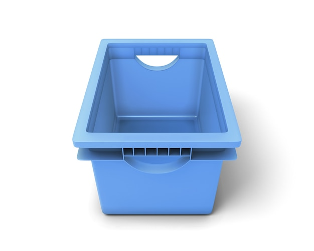 Niebieskie plastikowe pudełko na zabawki na białym tle. ilustracja 3d.