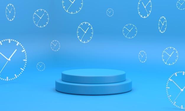 Niebieskie podium 3d minimon ustawione na niebieskim tle studia z białym zegarem analogowym