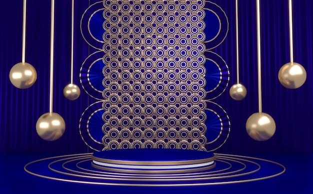 Niebieskie podium minimalistyczne geometryczne