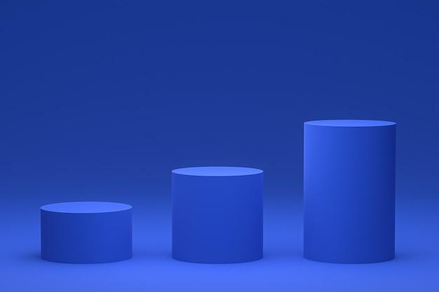 Niebieskie podium minimalne lub stojak na produkty renderowania 3d do prezentacji produktów kosmetycznych