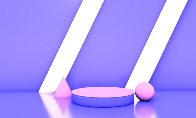 Niebieskie podium w abstrakcyjnym tle. ilustracja 3d
