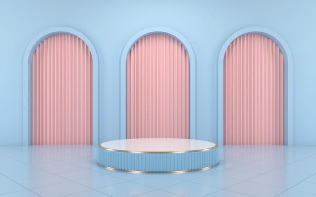 Niebieskie podium w kolorze niebieskim i różowa zasłona na produkt.