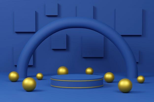 Niebieskie podium z łukiem i złotymi kulami