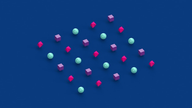 Niebieskie, różowe, fioletowe kształty geometryczne. streszczenie ilustracji, renderowania 3d.