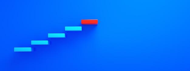 Niebieskie schody prowadzące do czerwonego najwyższego stopnia, najwyższego poziomu lub kariery, renderowanie 3d, układ panoramiczny