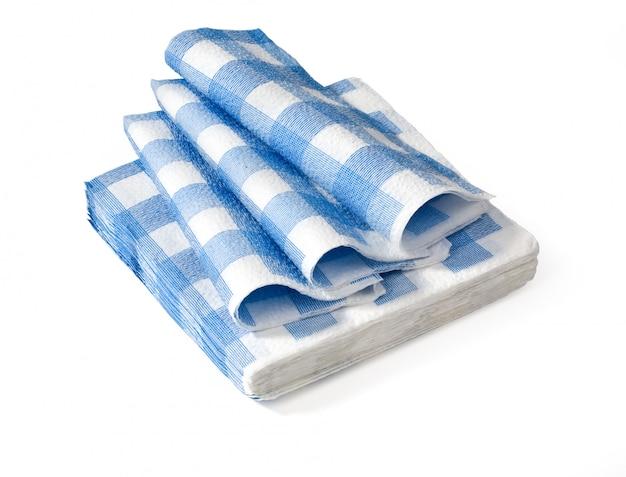 Niebieskie serwetki na białym tle