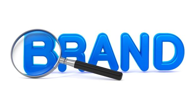Niebieskie słowo marki z lupą na białym tle.