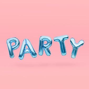 Niebieskie słowo party wykonane z nadmuchiwanych balonów unoszących się na różowym tle. niebieskie litery balonu. koncepcja uroczystości.