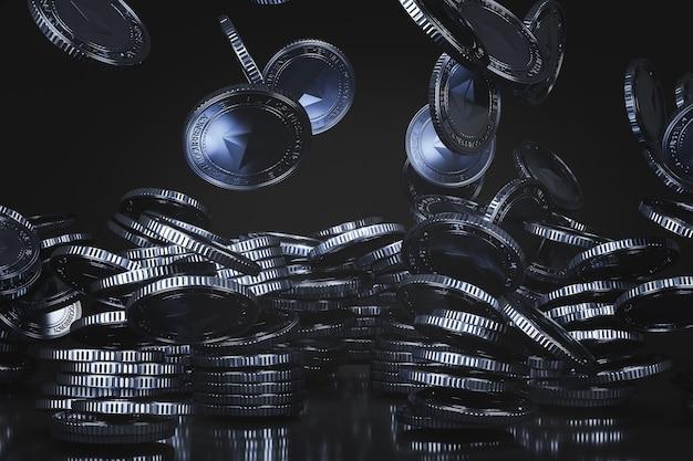 Niebieskie srebrne monety ethereum (eth) spadające z góry na czarnej scenie, cyfrowa moneta walutowa do finansów, promująca wymianę tokenów. renderowanie 3d