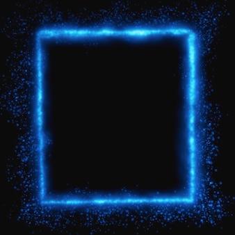 Niebieskie świecące kwadratowe tło