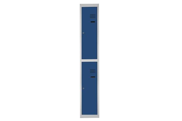 Niebieskie szafki do szatni. szare metalowe pudełko do zmiany pokoju