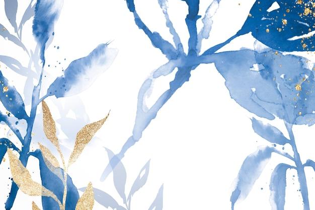 Niebieskie tło akwarela liści estetyczny sezon zimowy