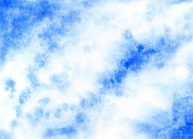 Niebieskie tło akwarela pociągnięcie pędzla na fakturze papieru niebieska smuga farby na tle