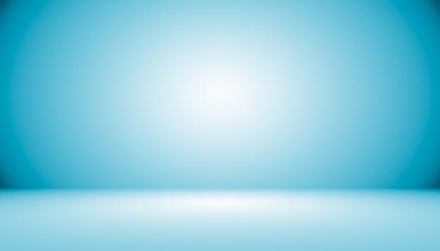 Niebieskie tło gradientowe abstrakcyjne pusty pokój z miejscem na tekst i obraz
