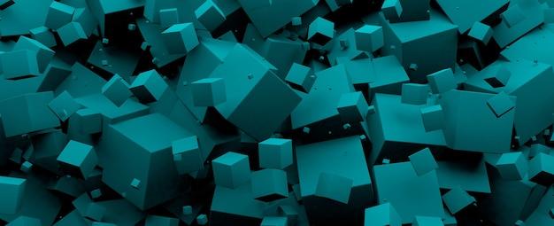 Niebieskie tło kostki 3 d, obraz panoramiczny