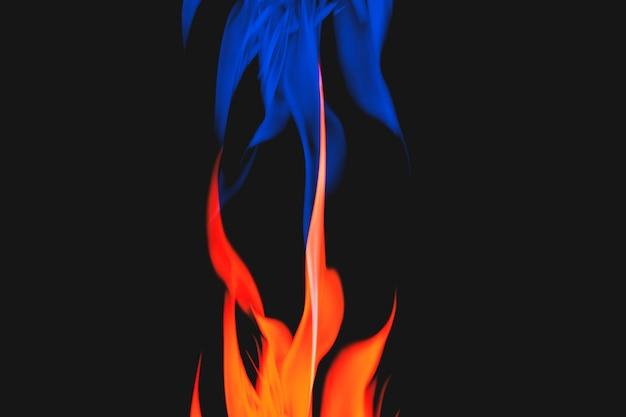 Niebieskie tło płomienia, estetyczny obraz neonowego ognia