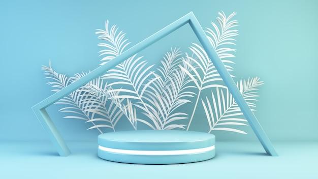 Niebieskie tło sceny platformy renderowania 3d