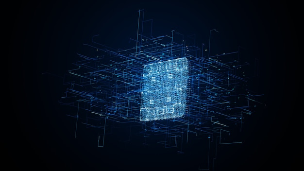 Niebieskie tło technologiczne mikroprocesora. streszczenie chipa procesora