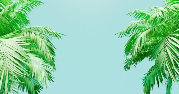 Niebieskie tło transparent z palmami po bokach. renderowanie 3d