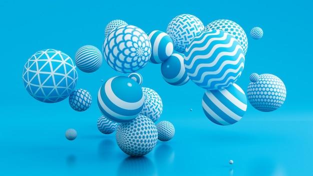 Niebieskie tło z kulkami. ilustracja, renderowanie 3d.