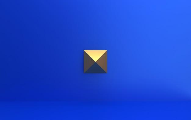 Niebieskie tło ze złotą piramidą w środku, renderowanie 3d