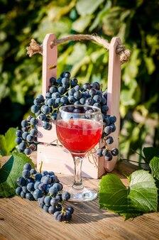 Niebieskie winogrona i sok winogronowy w szklance