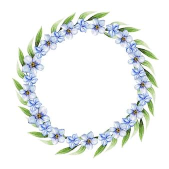 Niebieskie wiosenne kwiaty w wieniec na ślub. element dekoracyjny