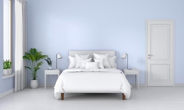 Niebieskie wnętrze sypialni