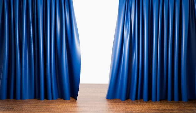 Niebieskie zasłony z drewnianą podłogą w sali teatralnej lub kina domowego, renderowanie ilustracji 3d
