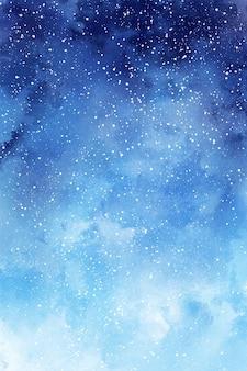 Niebieskie zimowe tło akwarela papier cyfrowy