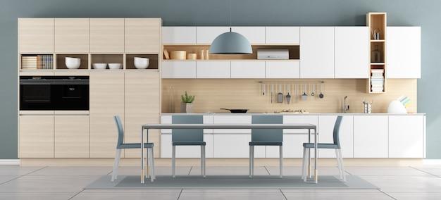 Niebiesko-biała nowoczesna kuchnia