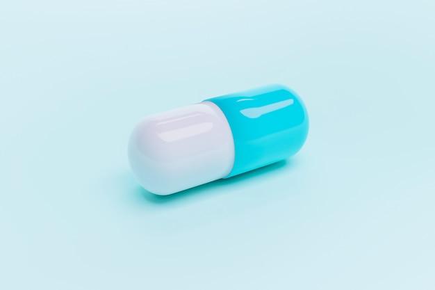Niebiesko-biała pojedyncza kapsułka leku, renderowanie ilustracji 3d