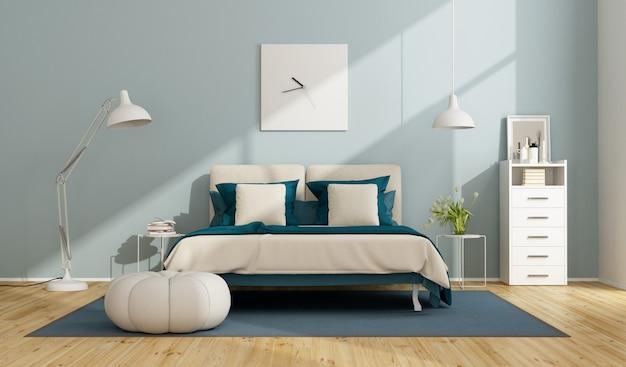 Niebiesko-biała sypialnia główna