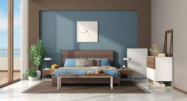 Niebiesko-brązowa nowoczesna sypialnia