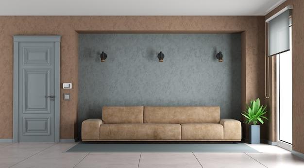 Niebiesko-brązowy salon