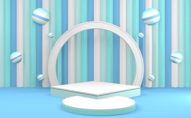 Niebiesko-cyjanowy abstrakcyjny kształt geometryczny pastelowa scena kolorowa minimalna cyjan niebieski podium minimalistyczna scena produktu. renderowanie 3d