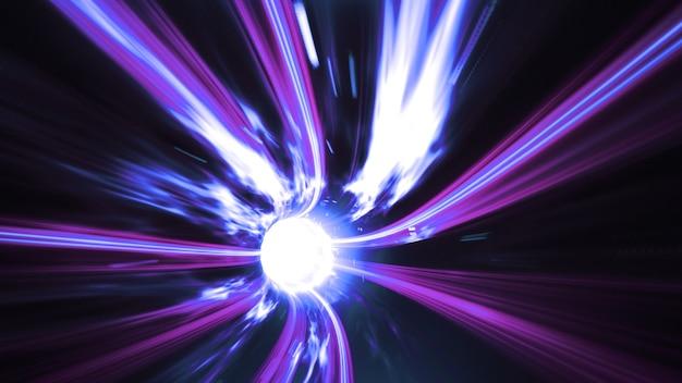 Niebiesko-fioletowa czasoprzestrzenna przestrzeń wirowa