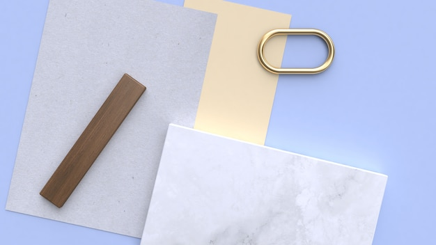 Niebiesko-fioletowo-niebieski minimalny geometryczny kształt renderowania 3d flay leżał papier