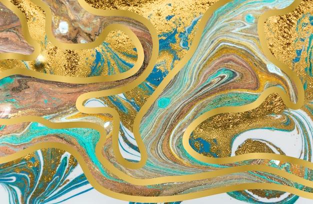 Niebiesko-złoty agatowy wzór falowania. marmurowe tło z warstw fal.
