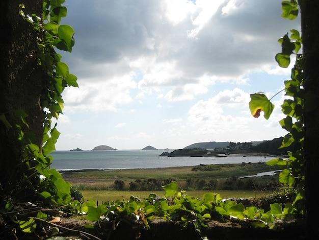 Niebo, chmury, światło francja morze natura powrotem brittany