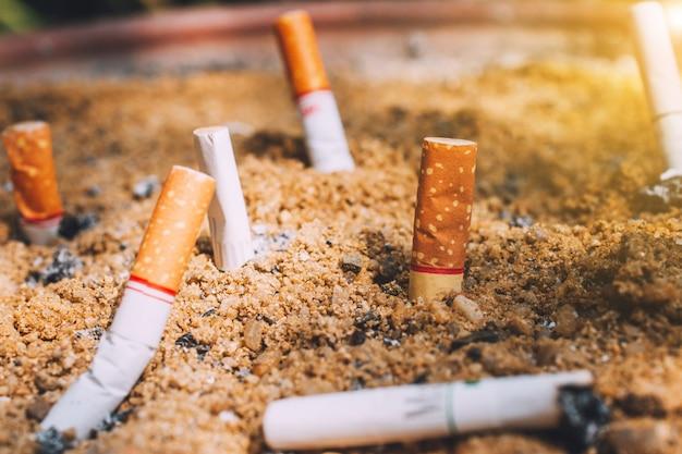 Niedopałki papierosa w piasek garnki, koncepcja nie palenia