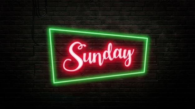 Niedziela znak godło w stylu neonowym na tle ściany z cegły